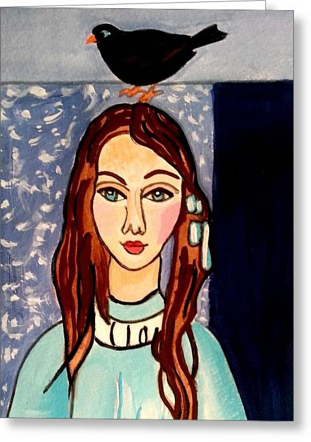 Girl With Blackbird Greeting Card