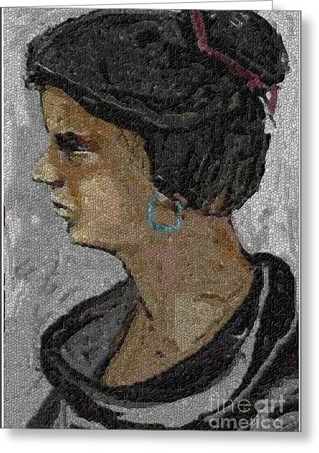 Girl With Blue Earrings Greeting Card by Pemaro