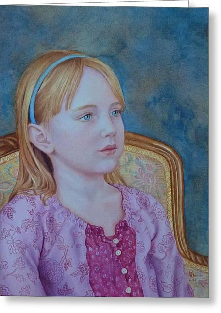 Girl With Blue Headband Greeting Card