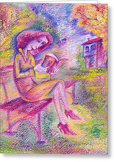 Girl With Book Greeting Card by Milen Litchkov