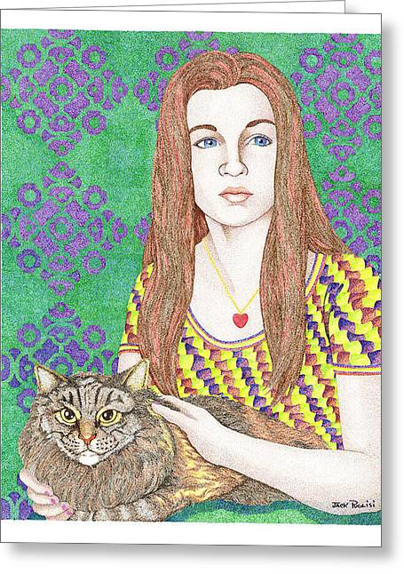 Girl With Cat Greeting Card by Jack Puglisi