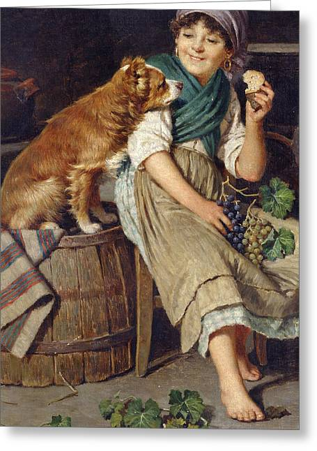 Girl With Dog Greeting Card by Federico Mazzotta