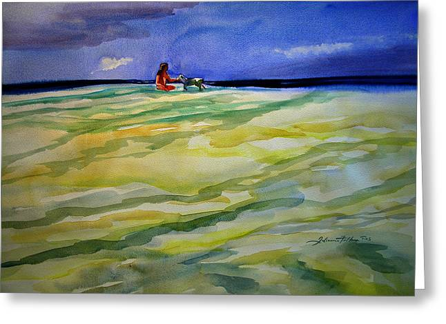 Girl With Dog On The Beach Greeting Card by Julianne Felton