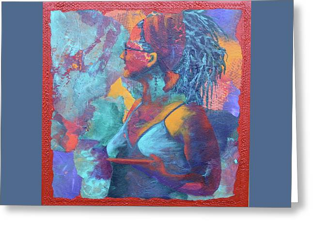 Greeting Card featuring the painting Girl With Dreads by Nancy Jolley
