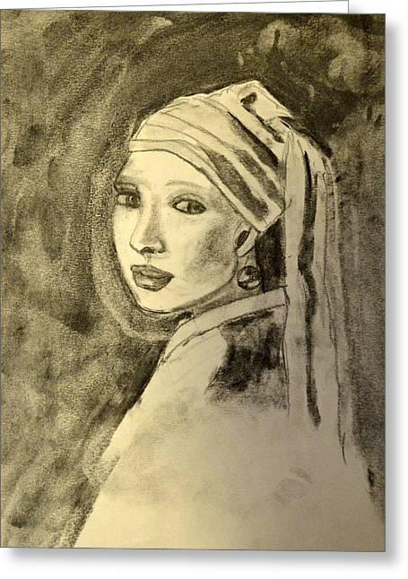 Girl With Earring Greeting Card by Daniele Fedi