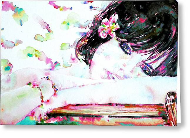 Girl With Flower In Her Hair Greeting Card by Fabrizio Cassetta