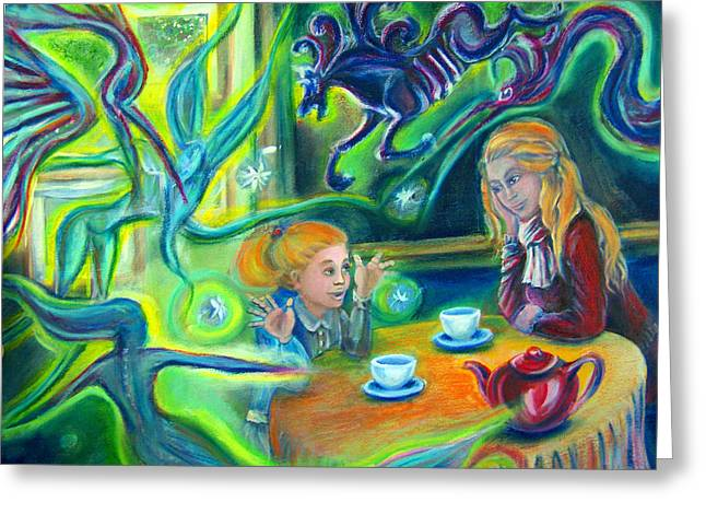 Girl With Her Mom And Great Imagination Greeting Card by Vanja Zogovic