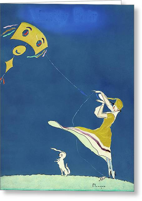 Girl With Kite, C1917 Greeting Card