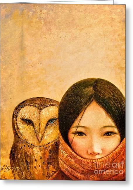 Girl With Owl Greeting Card by Shijun Munns