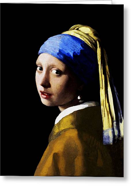 Girl With Pearl Ear Ring Greeting Card by Johannes Vermeer