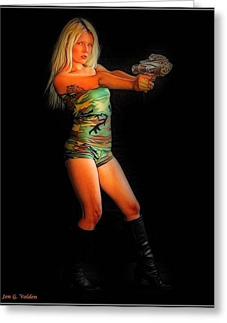 Girl With Ray Gun Greeting Card