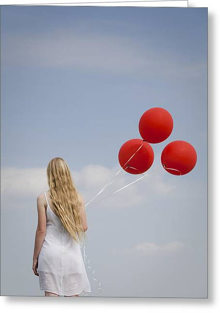 Girl With Red Balloons Greeting Card