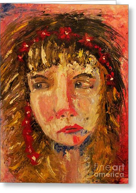 Greeting Card featuring the painting Girl With Red Flowers In Her Hair by Judy Morris