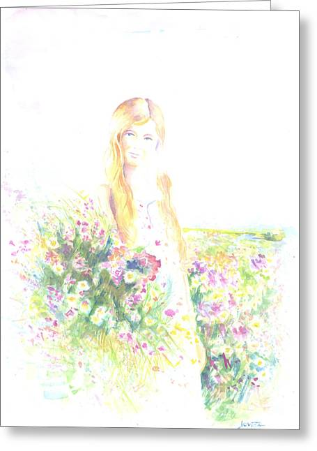 Girl With Red Hair Greeting Card by Jovica Kostic