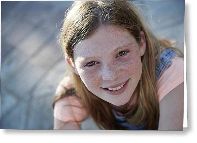 Girl With Red Hair Smiling Greeting Card