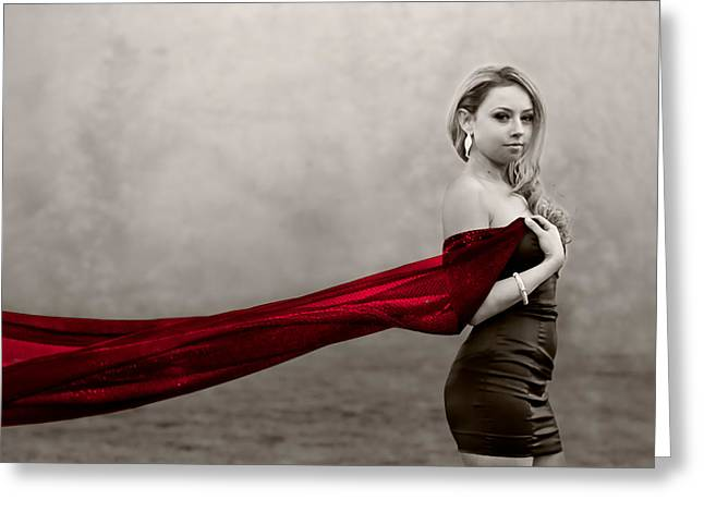 Girl With Red Scarf Greeting Card