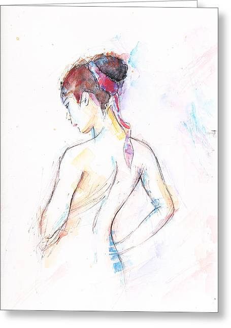 Girl With Red Scarf Greeting Card by Jovica Kostic