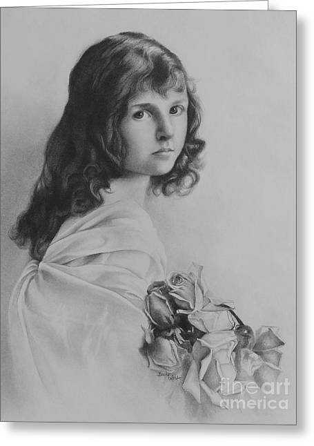 Girl With Roses Greeting Card by Becky West
