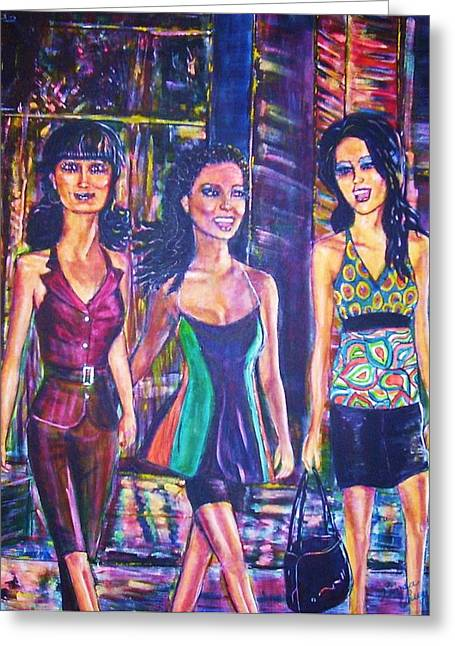 Girlfriends Greeting Card by Linda Vaughon