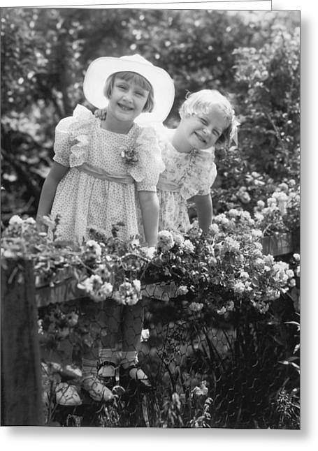 Girlfriends With Flowers Greeting Card by Underwood Archives