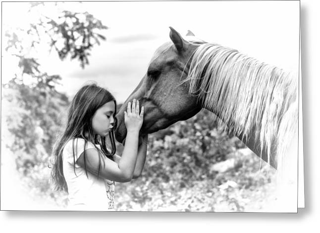 Girls And Their Horses Greeting Card by Eleanor Abramson