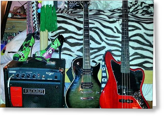 Girls Can Rock Too Greeting Card by Stephanie Bucaria