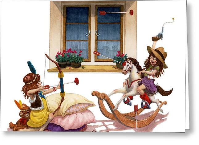 Girls Cowgirl Vs Indian Greeting Card by Isabella Kung