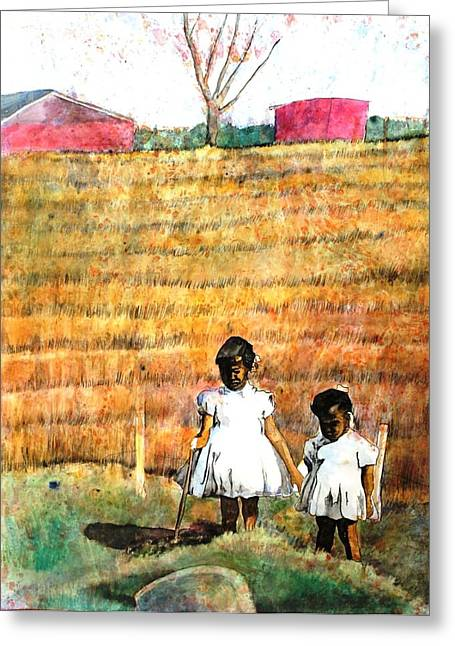 Girls In The Field Greeting Card