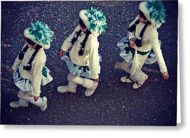Girls Marching In A Row Greeting Card