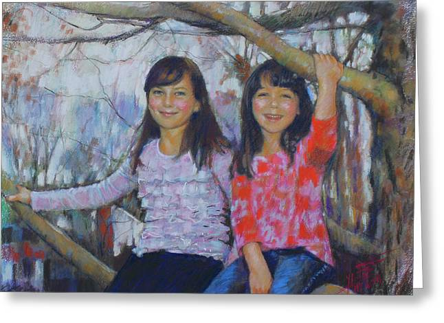 Greeting Card featuring the drawing Girls Upon The Tree by Viola El