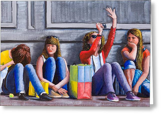 Girls Waiting For Ride Greeting Card