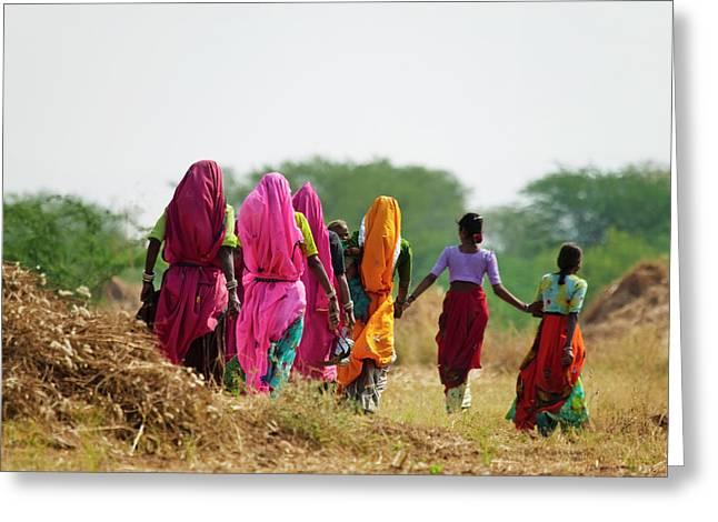 Girls Wearing Colorful Saris, Pushkar Greeting Card by Keren Su
