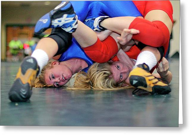 Girls Wrestling Championships Greeting Card by Jim West