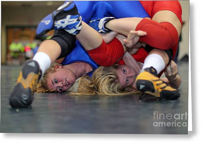 Greeting Card featuring the photograph Girls Wrestling Competition by Jim West
