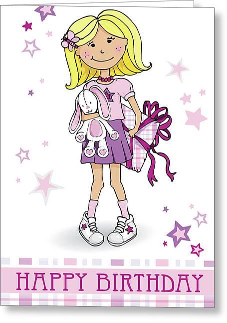 Girly Birthday Gift Card Painting By Sarah Trett