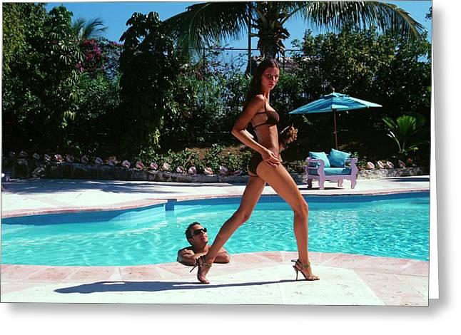 Gisele Bundchen Walking Poolside Greeting Card by Arthur Elgort