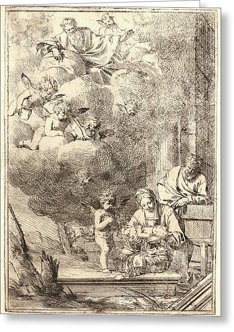 Giulio Carpioni Italian, 1613 - 1678. Holy Family With God Greeting Card