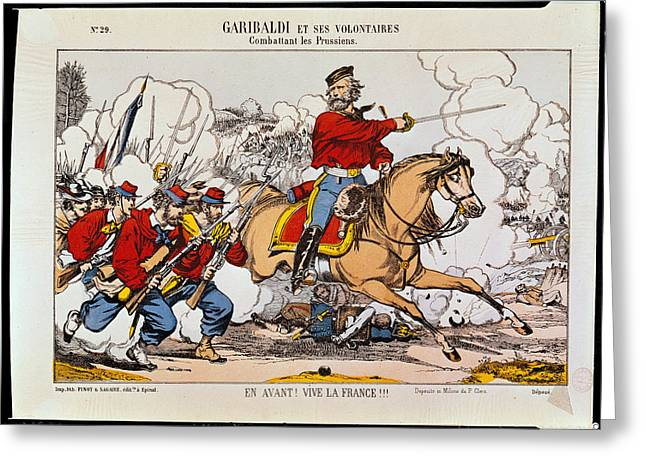 Giuseppe Garibaldi 1807-82 And His Volunteers Fighting The Prussians Coloured Engraving Greeting Card