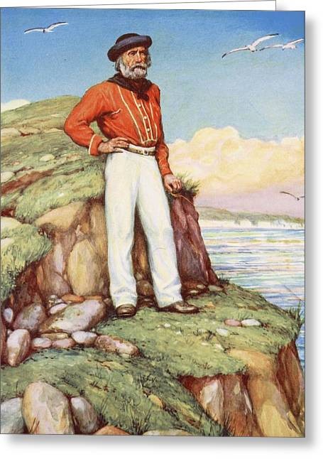 Giuseppe Garibaldi On A Cliff-ledge Greeting Card