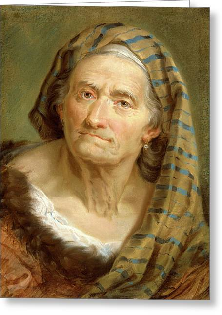 Giuseppe Nogari, An Elderly Woman In A Striped Shawl Greeting Card