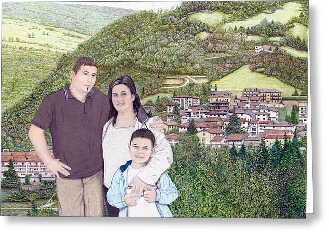 Greeting Card featuring the painting Giusy Mirko And Simone In Valle Castellana by Albert Puskaric
