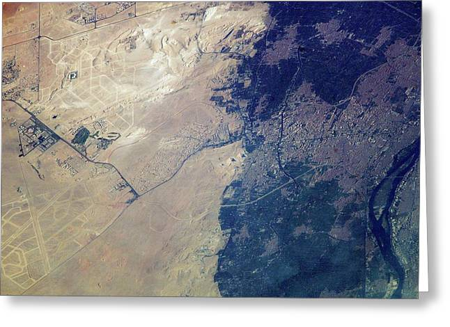 Giza Plateau And Cairo Greeting Card by Nasa