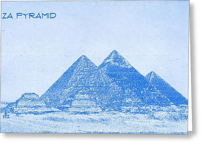 Giza Pyramid  - Blueprint Drawing Greeting Card by MotionAge Designs