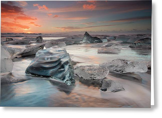 Glacial Lagoon Beach Greeting Card