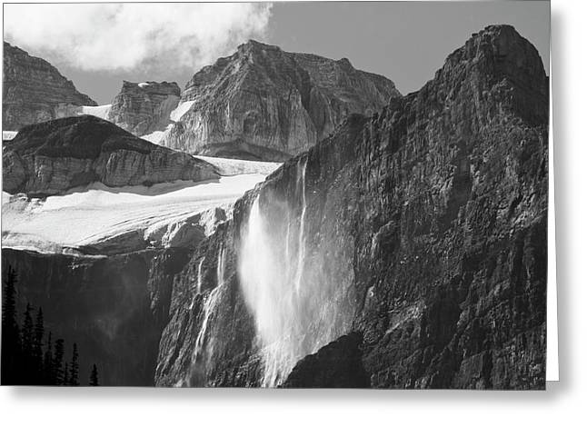 Glacial Waterfall, Rocky Mountains Greeting Card by Michel Hersen