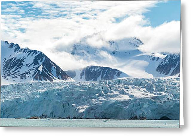 Glacier And Mountains, Spitsbergen Greeting Card
