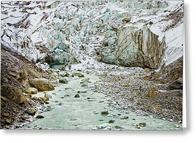 Glacier And River In Mountain Greeting Card