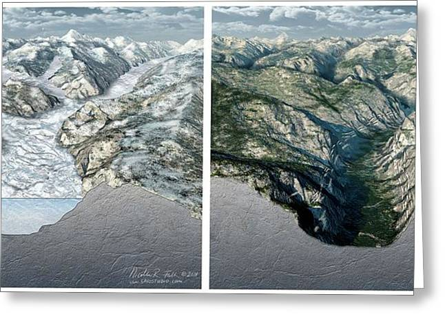 Glacier-carved Kings Canyon Greeting Card by Nicolle R. Fuller