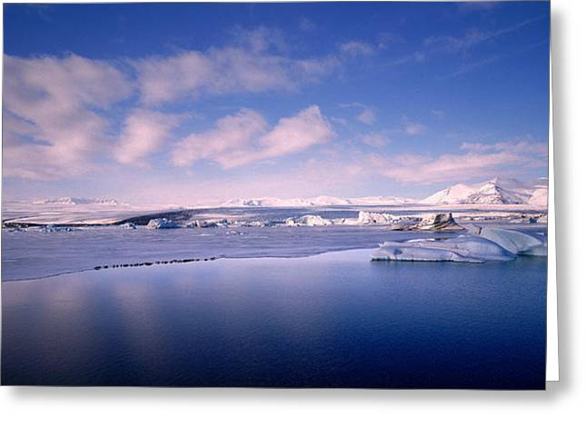 Glacier Floating On Water, Jokulsarlon Greeting Card by Panoramic Images