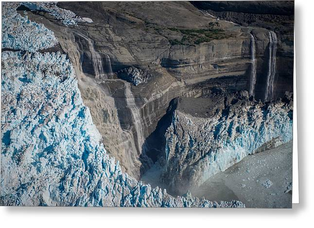 Glacier Icefall And Waterfalls Greeting Card